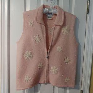 Mandal Bay Pink Snow Flake Embroidered Vest